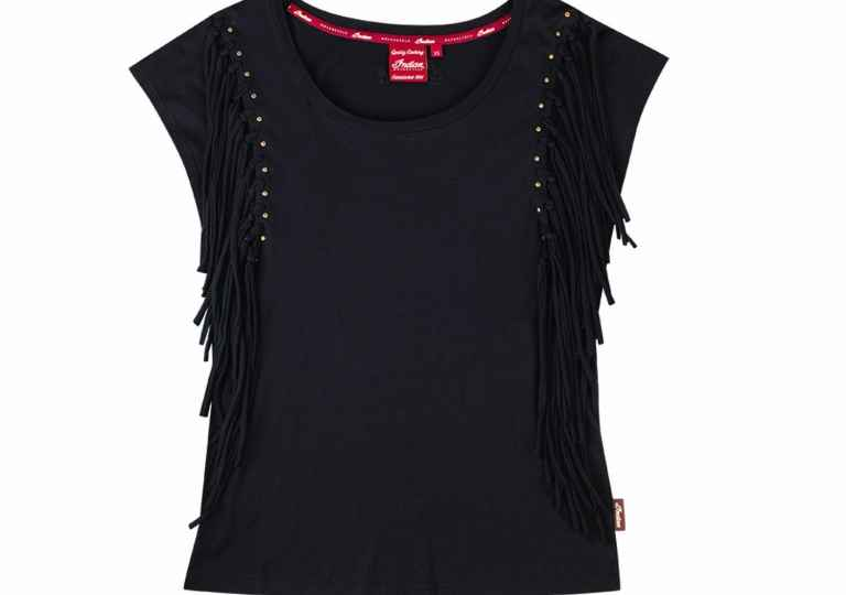 Women Fringe Tee Black